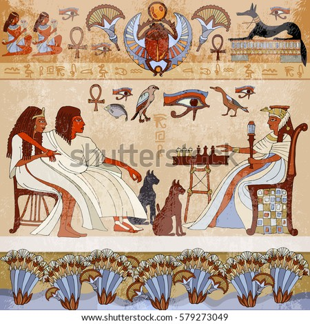 Murals ancient egyptscene egyptian gods pharaohs stock for Egyptian wallpaper mural