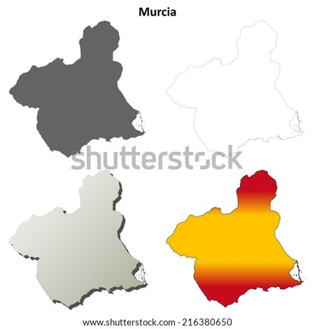 Murcia blank detailed outline map set - vector version - stock vector