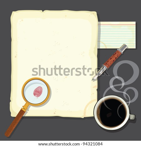 Murder mystery detectives desk with steaming coffee. Great for a murder mystery party or a crime novel party.