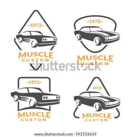 Muscle Car Logo Set Car Icon Stock Vector Shutterstock - Muscle car repair