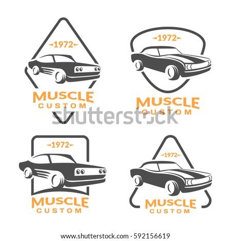 Muscle Car Logo Set Car Icon Stock Vector Shutterstock - Muscle car repair