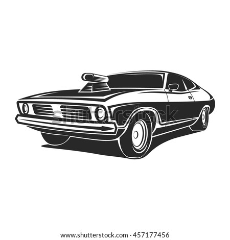Muscle car vector art poster t shirt white