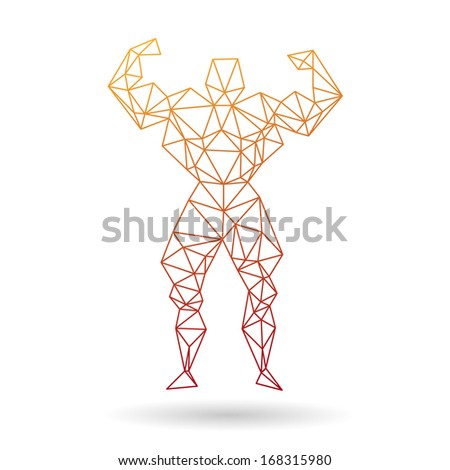 Muscle man abstract isolated on a white backgrounds - stock vector