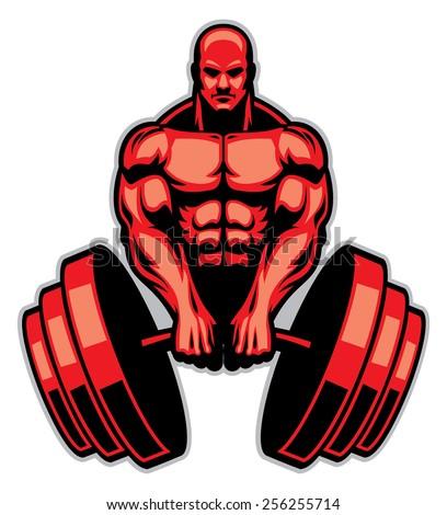 muscle man bodybuilder - stock vector