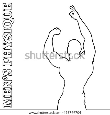 Muscle man silhouette lifting weights, fitness gym icon bodybuilder