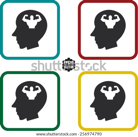Musclemen In Head For Healthy Symbol And Icons Set On White Background And Colorful Border. Vector illustration. - stock vector