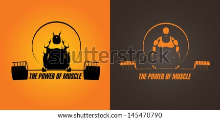 muscles, barbell, bodybuilder - stock vector