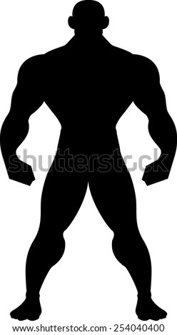 Muscular Man Silhouette - stock vector