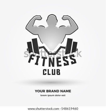Muscular Man with barbell, LOGO / ICON