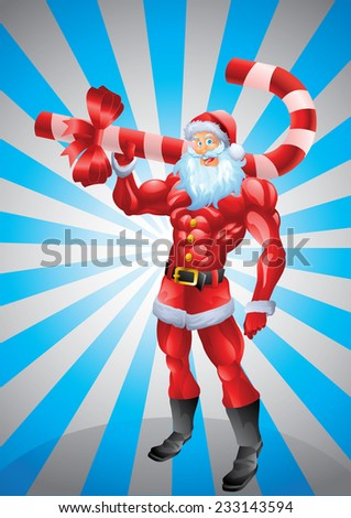 Muscular Santa Claus holding candy cane, sun rays background - stock vector