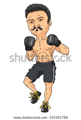Muscular, sawyer boxer on a white background - stock vector