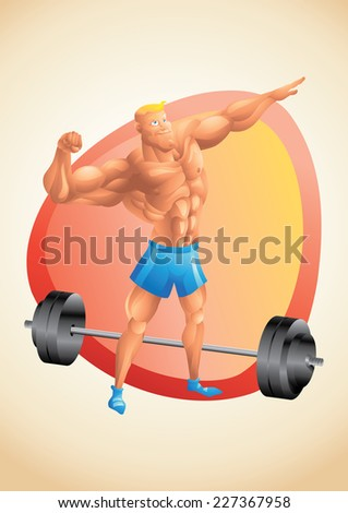 Muscular white guy posing in the gym - stock vector