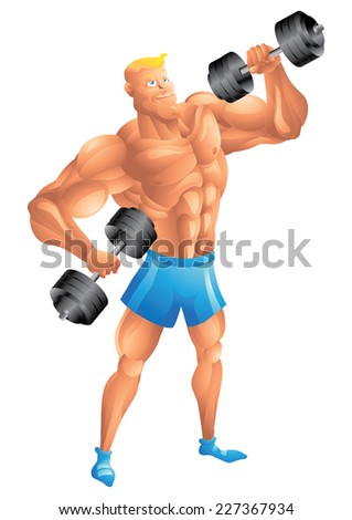 Muscular white guy posing with dumbbells - stock vector