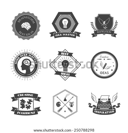 And inspiration label set isolated vector illustration stock vector