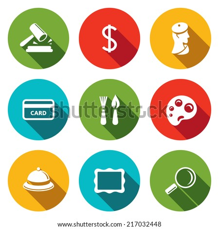 Museum flat icon collection - stock vector