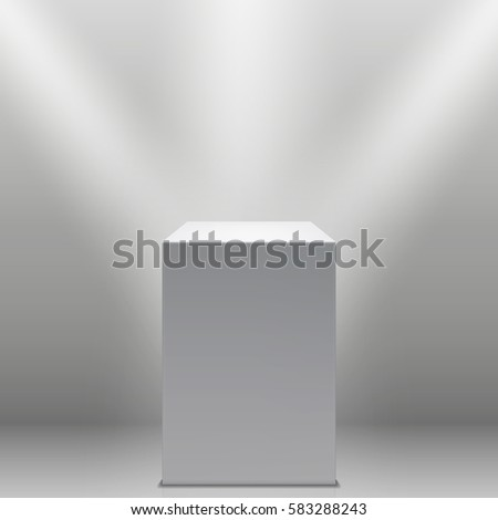 Museum pedestal, white empty 3d podium and spotlights vector illustration