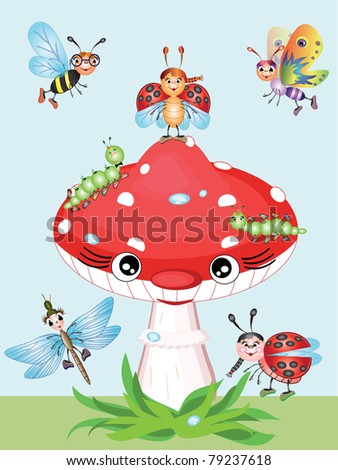Mushroom and insects,