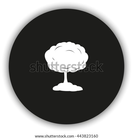 Mushroom cloud, nuclear explosion, silhouette. Flat icon. - stock vector