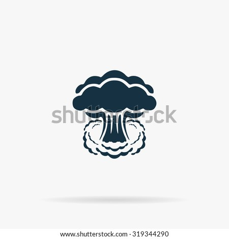 Mushroom cloud, nuclear explosion, silhouette. Flat vector web icon or sign on grey background with shadow. Collection modern trend concept design style illustration symbol - stock vector