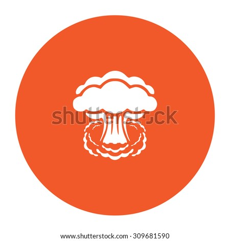Mushroom cloud, nuclear explosion, silhouette. Flat white symbol in the orange circle. Vector illustration icon - stock vector