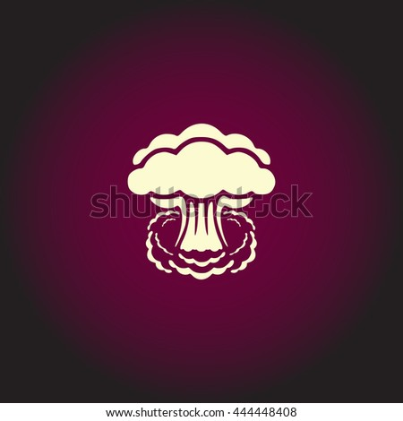 Mushroom cloud, nuclear explosion, silhouette. White vector icon on dark background. Flat pictogram - stock vector