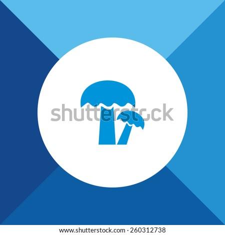 Mushroom Icon on Blue Background. Eps-10. - stock vector