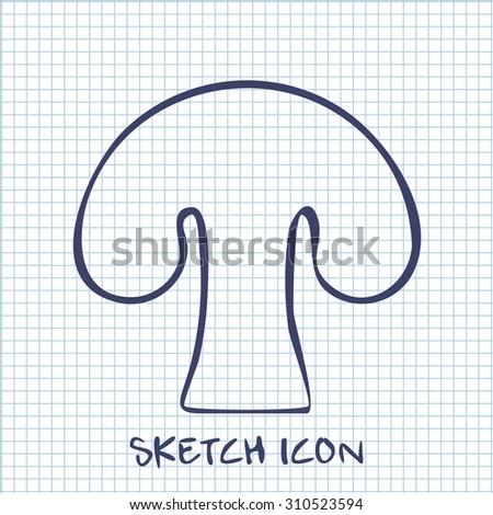 mushroom sketch icon. Food symbol  - stock vector