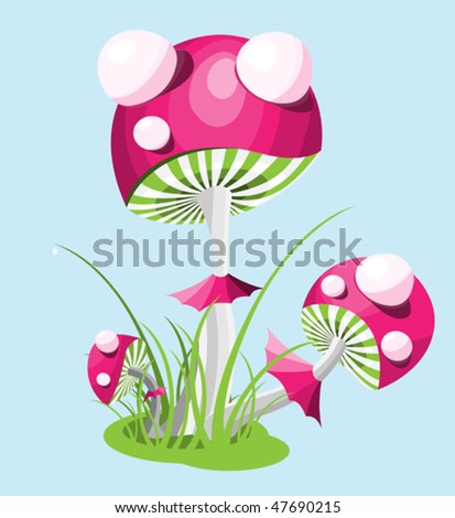 mushrooms, fly agarics in the grass, an abstract illustration