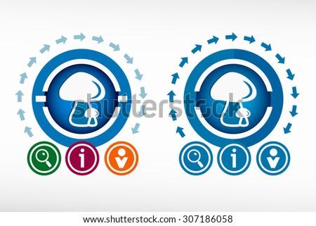 Mushrooms icon and creative design elements. Flat design concept. - stock vector