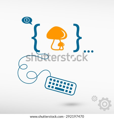 Mushrooms icon and flat design elements. Design concept icons for application development, web design, creative process. - stock vector