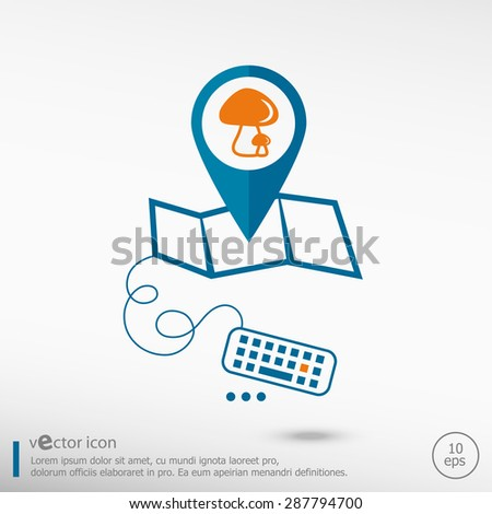 Mushrooms icon and pin on the map. Line icons for application development, creative process.  - stock vector