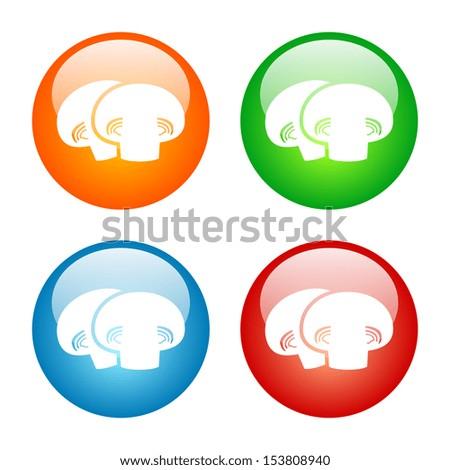 Mushrooms Icon Glass Button Icon Set - stock vector