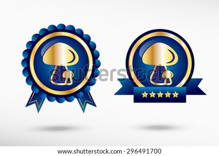 Mushrooms icon stylish quality guarantee badges. Blue colorful promotional labels - stock vector