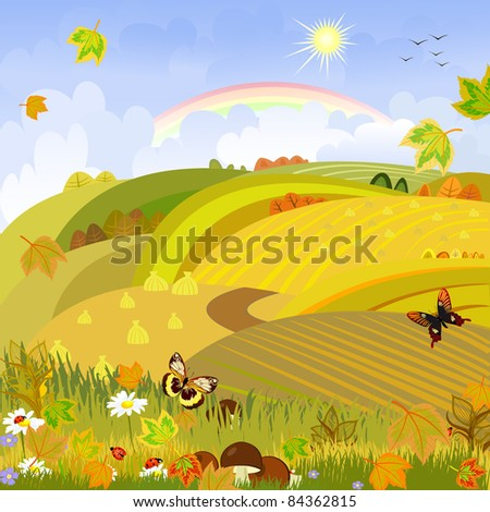 Mushrooms on a background of autumn landscape rural expanses - stock vector