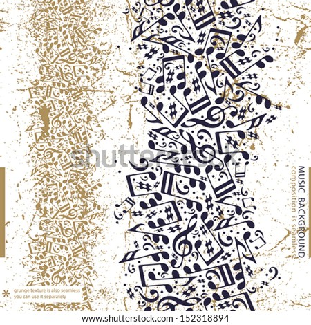 Music abstract background with notes, composition is seamless, grunge style vector illustration. - stock vector