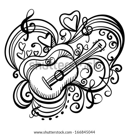 Music abstract icon with the guitar, hearts, musical note, treble clef. Black lines. Hand drawing illustration. Doodle. Cartoon. Vintage style. White background - vector - stock vector
