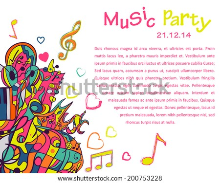 Music abstract vector background with space for text. Pattern with notes, headphones, waves, curls, strips. Illustration can be used for web pages, gift cards, invitations. - stock vector