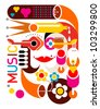 Music - abstract vector illustration on white background. - stock vector