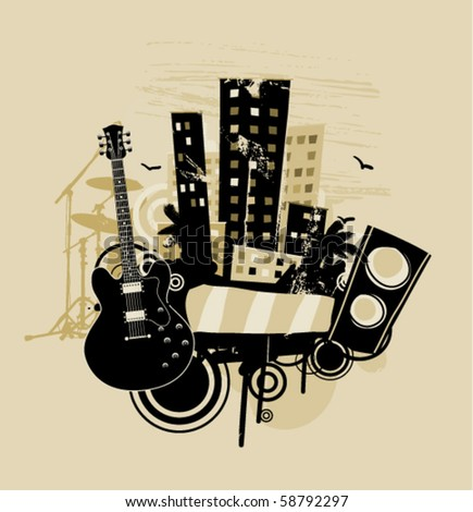 Music abstract with guitar and speaker - stock vector