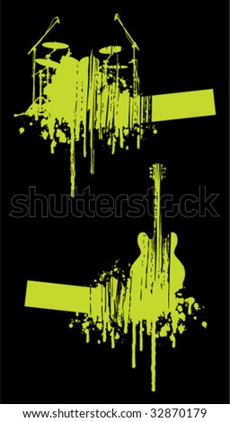 Music abstracts on black background - stock vector