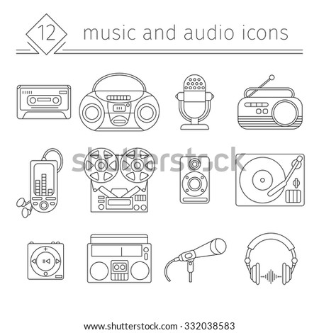 Music and audio icons in a linear style, symbols of retro tape, cassette, turntable, records.