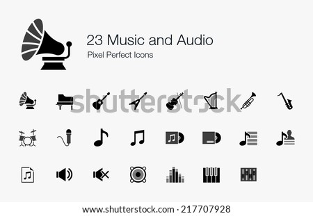 Music and Audio Pixel Perfect Icons - stock vector