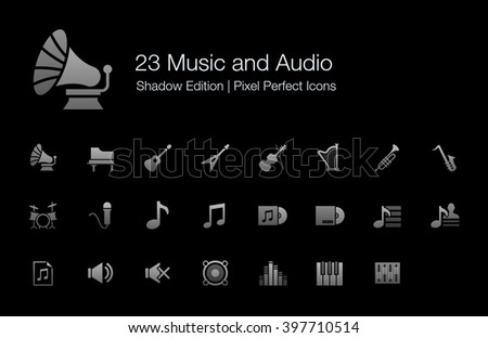Music and Audio Pixel Perfect Icons Shadow Edition - stock vector