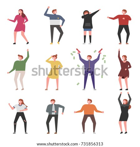 music and dancing people character various poses vector illustration flat design