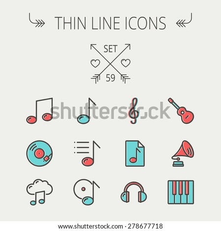 Music and entertainment thin line icon set for web and mobile. Set include-musical notes, phonograph record, g- clef, headphone, gramophone, guitar, piano icons. Modern minimalistic flat design - stock vector