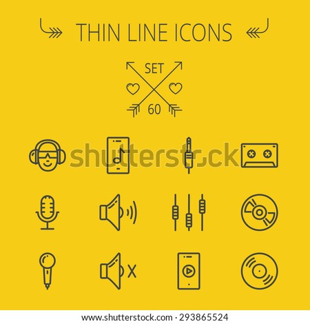 Music and entertainment thin line icon set for web and mobile. Set includes- loudspeaker, headphone, microphone retro, cassette tape, control volume, vinyl disc icons. Modern minimalistic flat design - stock vector