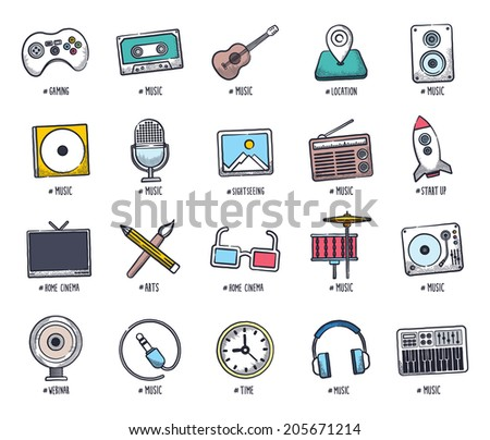 Music and event icon set. Vector doodle illustrations. - stock vector