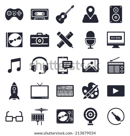 Music and fun theme, black and white icons.