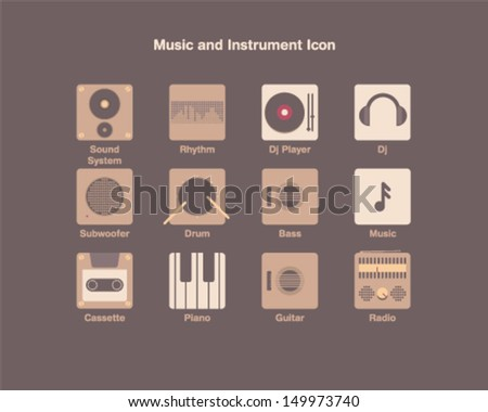 Music and Instrument Icon - stock vector