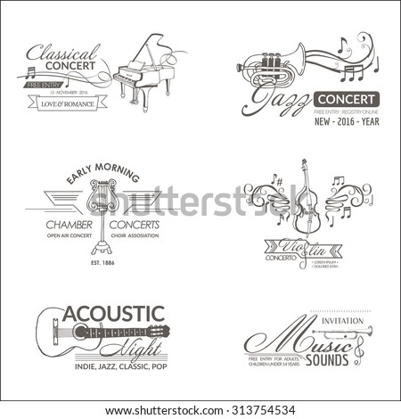 Music and Instruments - Labels, Badges, Identity, Logotypes - vector - stock vector